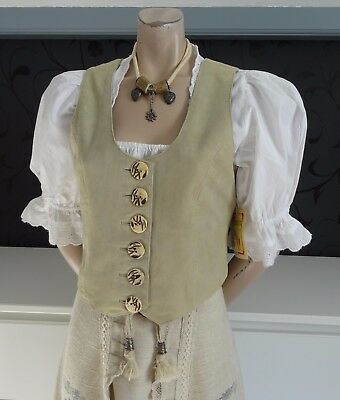 German Austrian NEW Goatsskin Leather Vest + Dirndl Blouse 8