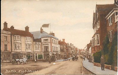 Old Postcard Of Battle High Street Showing Post Office.
