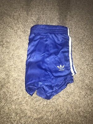 Vintage Retro Adidas Nylon Running Shorts Oldschool Shiny Blue 80's (List4)