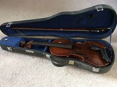 Full size violin with bow and hard case, well used & needs re-stringing