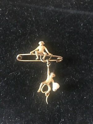 Antique Victorian Edwardian Articulated Swinging Monkeys Brooch  Interesting