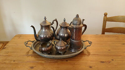 Vintage silver plated teaset by EB Rogers + extra coffee pot and tray