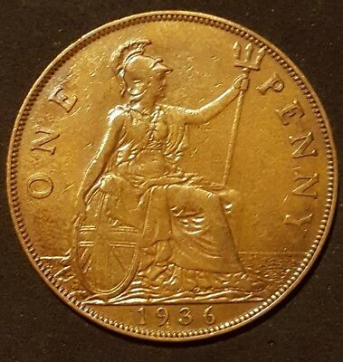 1936 George V  1d One Penny Coin  - Great Britain very good detail