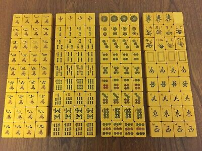 Rare Collectible Mahjong Set Butterscotch Bakelite from 30s/40s