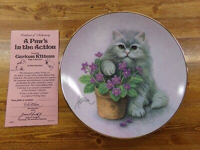 Hamilton Collection Bob Harrison Curious Kittens Plate A Paws In The Action