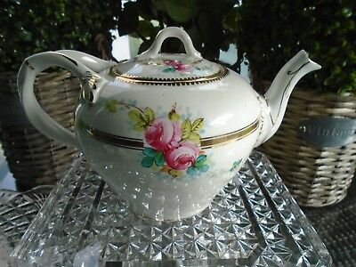 Antique Vintage Handpainted Rose Early Teapot For A Teaset/cake Stand