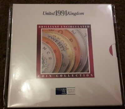 1991 Uncirculated UK coin Year set BU 7-coin Royal Mint pack with large size 50p