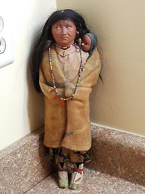 "Vintage Skookum Native American 14"" Bully Good Squaw with Papoose"