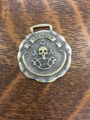 Vintage IOOF Old Fellows Fraternity Skull 💀 & Crossbones Watch Fob