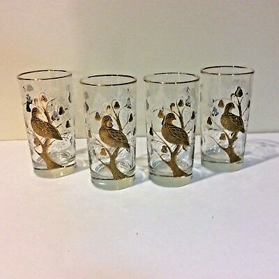 6 Vintage Libbey Partridge in a Pear Tree Highball Glasses Barware Gold & White