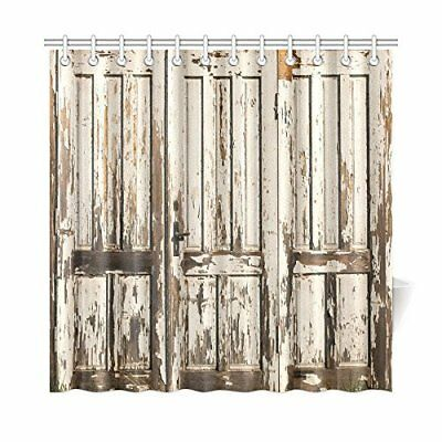 Vintage Rustic Country Barn Wood Door Digital Print Polyester Shower Curtain