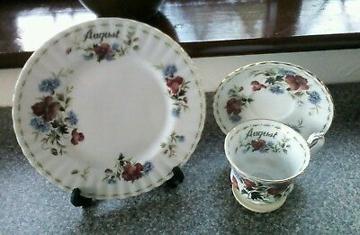 Royal Albert Flower Of The Month August Plate Plus Cup And Saucer