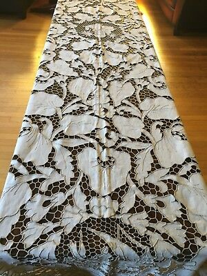 Exotic Design Cut Work Embroidered Linen Vintage Tablecloth 10' x 5' 5""