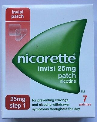NICORETTE INVISI 25mg patch box of 7 Patches use by date 2019 or later STEP 1