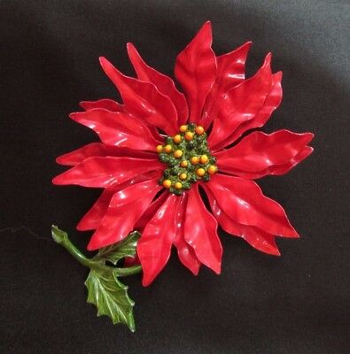 "Vintage Metal Flower Power Brooch~Pin Chrysanthemum Christmas 4"" Length"