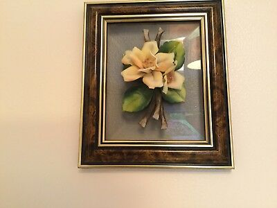Wall Hanging Picture Of Raised Porcelain Flower On Glass