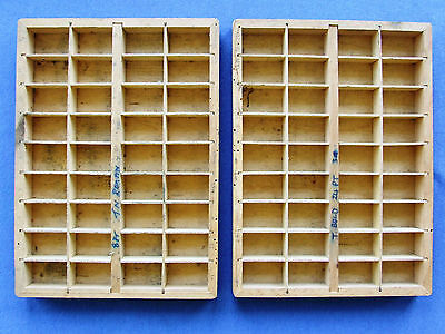 Letterpress Printing Adana Small Typecases 2 Type Trays 36 d with woodworm holes