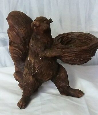 Victorian Trading Co NWOT Nutkin's Nest Antiqued Wood Finish Squirrel Nut Bowl
