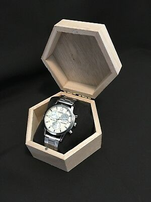 Mens crystal stainless steel quartz watch