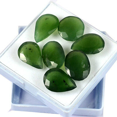 60 Cts/7 Pcs 100% Natural green serpentine mix faceted cut loose gemstone lot