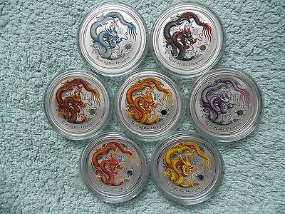 2012 Australian Silver Dragon Lunar Series II BU 1 OZ (Set of 7 Colorized Coins)