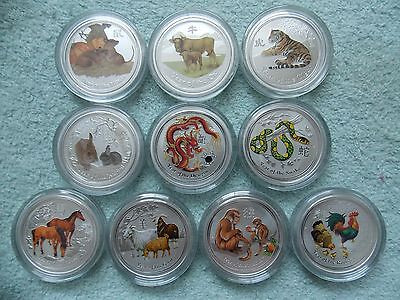 2008 to 2017 Australian Silver Lunar II Colorized 1/2 OZ (10 coin set)