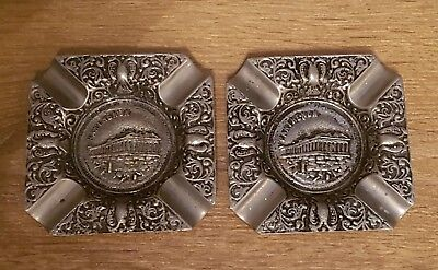 Pair of Parthenon Ashtrays. Sturdy Metal