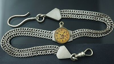 Antique German silver jewelry pocket watch chain/fob/slide with  big clasps