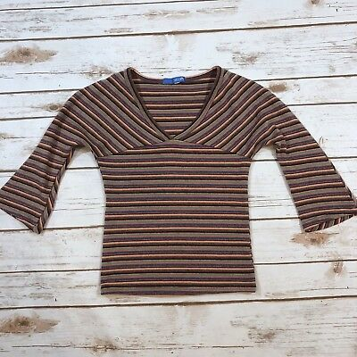 Vintage 90s Delia's Multicolor Stripe Stretchy Ribbed Crop Top Fits Womens XS