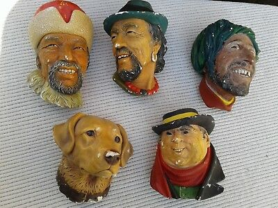 VINTAGE BOSSONS HEADS MASKS CHALKWEAR FIGURES SET of 5