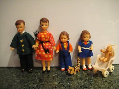 Vintage Dollhouse Miniature Family of 5 Original Outfits with pet cat .