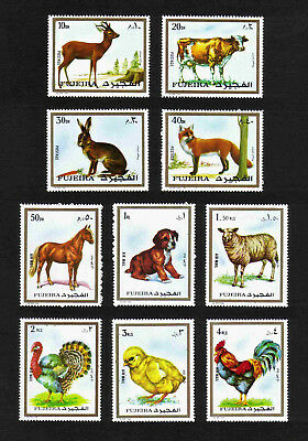 Fujeira 1972 Domestic & Wild Animals complete set of 10 values MNH