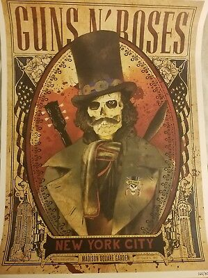 GUNS N ROSES Madison Square Garden New York  Lithograph Poster 10/16 Slash