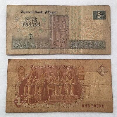 Egypt 1 Pound And 5 Pound Banknote Currency Paper Money