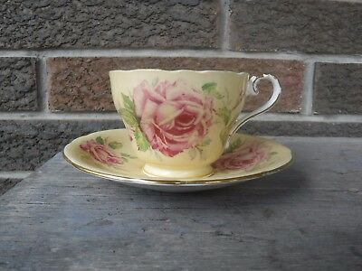 Aynsley Bone China Yellow Cup Saucer With Large Cabbage Pink Flower