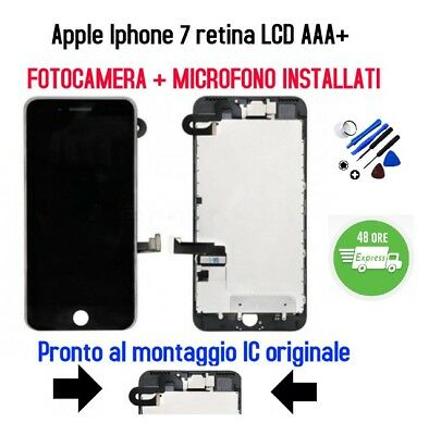 LCD retina Display Touch Apple Iphone 7 AAA+ Nero +Fotocamera+Audio COMPLETO
