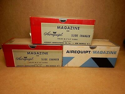 """Vintage Airequipt Automatic Slide Changer Magazines Holds 36 2""""x2"""" Lot Of 9"""