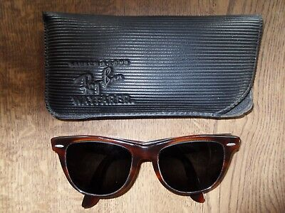 Vintage B&L Ray Ban Wayfarer II Sunglasses Brown Tortoise Wide Fit