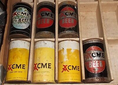 7 different Acme Beer Fat Top Beer cans Backbar, resturaunt, mancave collection