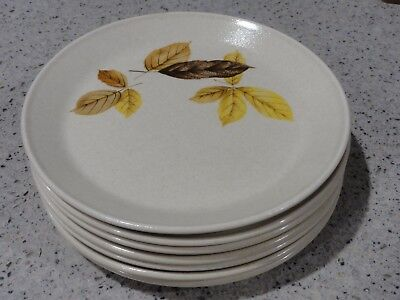 "6+1 Retro Johnson of Australia Bread-n-Butter Plates, ""Autumn Leaves"""