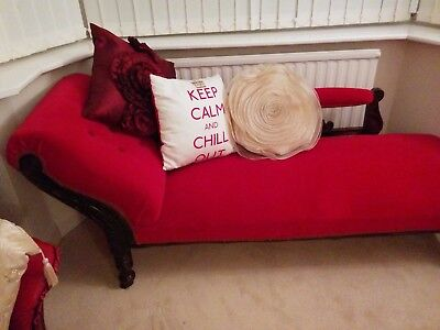 Antique Stunning Red Chaise... Solid Oak Carved Detailing Beautiful for Age