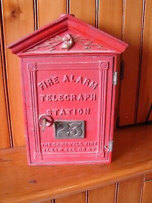 Gamewell Fire Alarm Telegraph Station Call Box with Key Old Red & Gold Surface