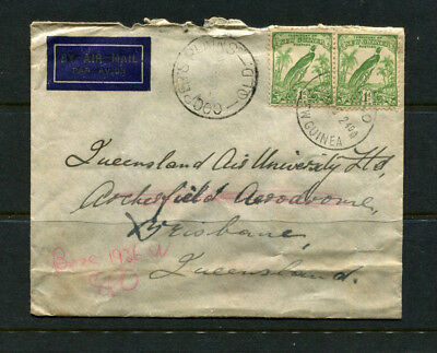 New Guinea 1940? Stamp Cover Bird Of Paradise Cds Salamaua To Cooper Plains Qld