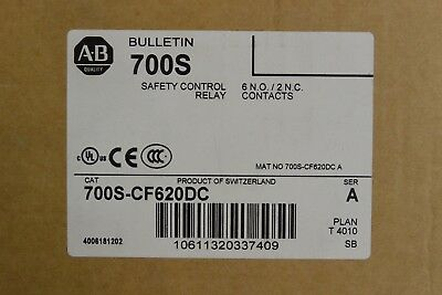 700S-CF620DC Allen Bradley 700S Safety Control Relay 6NO 2NC GuardMaster NEW