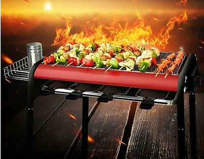 Multifunction Portable Non Stick Health Quick BBQ Electric Grill With Holder *