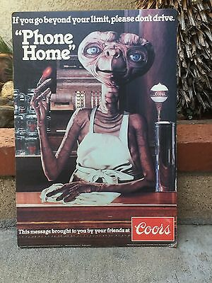"""RARE Vintage Coors E.T. """"Phone Home"""" Sign"""
