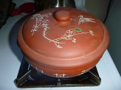 Chinese Yixing Zisha Red Clay W/ White Calligraphy Bird Steam Cooking Pot