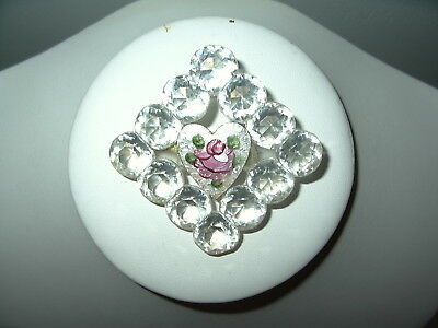 Vintage Plastic Crystal & Pink Guilloche Heart Diamond Shaped Brooch Pin
