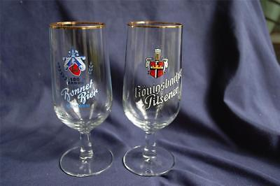 Bonnet Bier & Konigsbacher Pilsner Stemmed Beer Glasses Vintage Germany