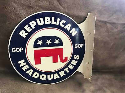 Old 1970's Used Republican GOP headquarters 2 Sided Metal Sign